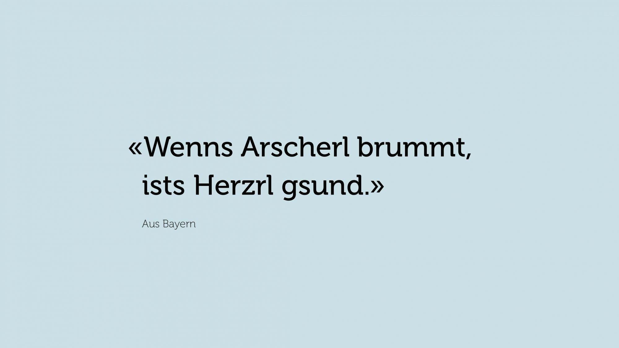Zitat Bayern: «Wenns Arscherl brummt, ists Herzrl gsund.»
