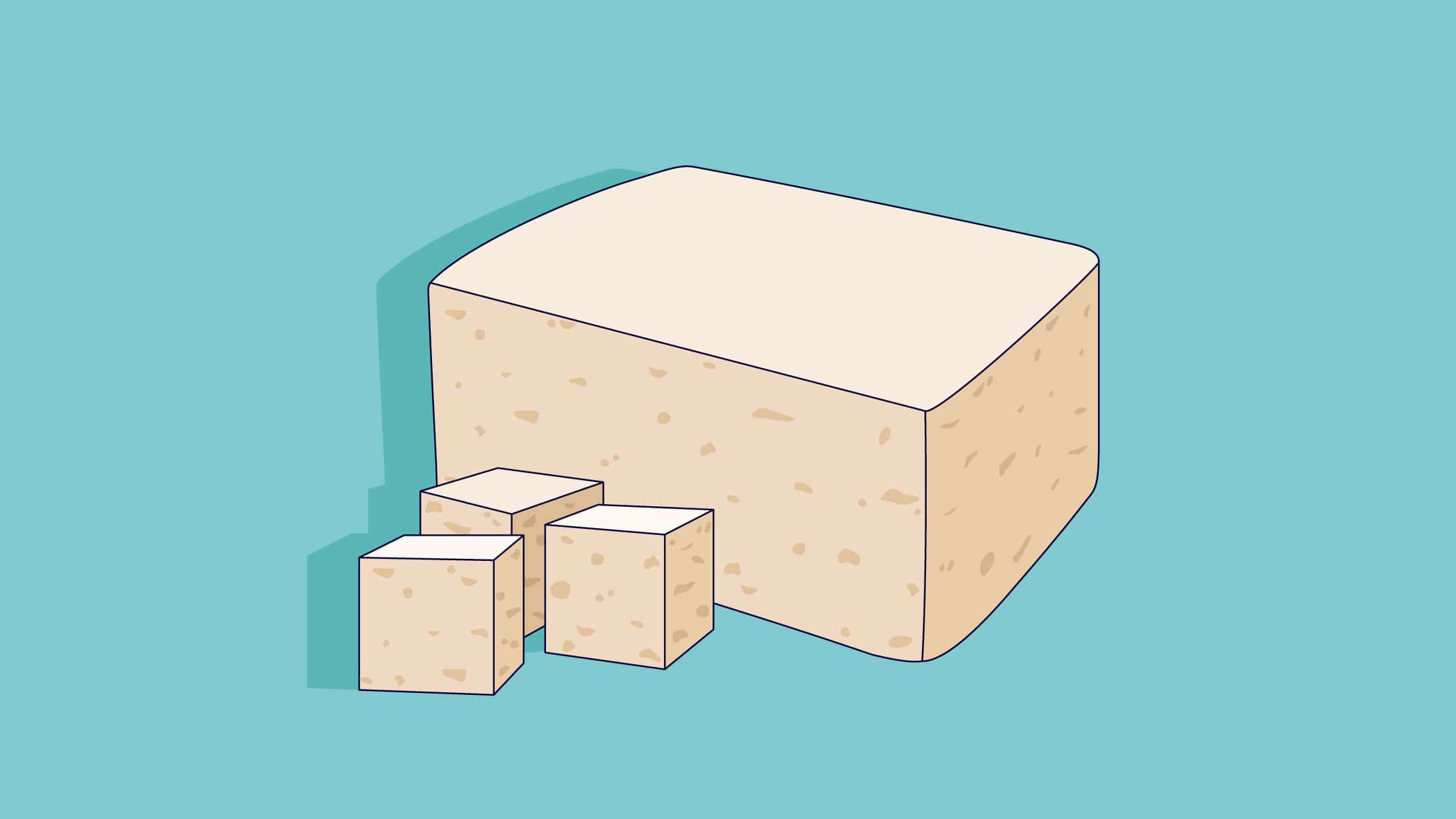 Illustration eines Tofo Blocks.