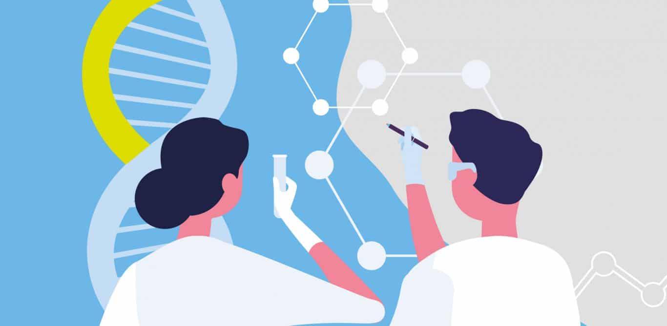Illustration von Ärzten, die DNA untersuchen