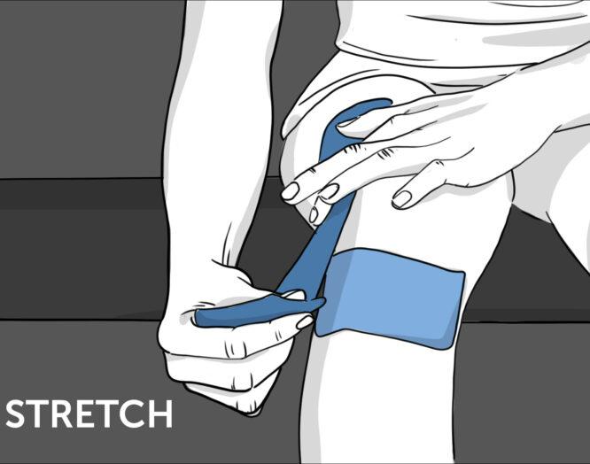 Illustration: So geht Tapen beim Knie - Schritt 3