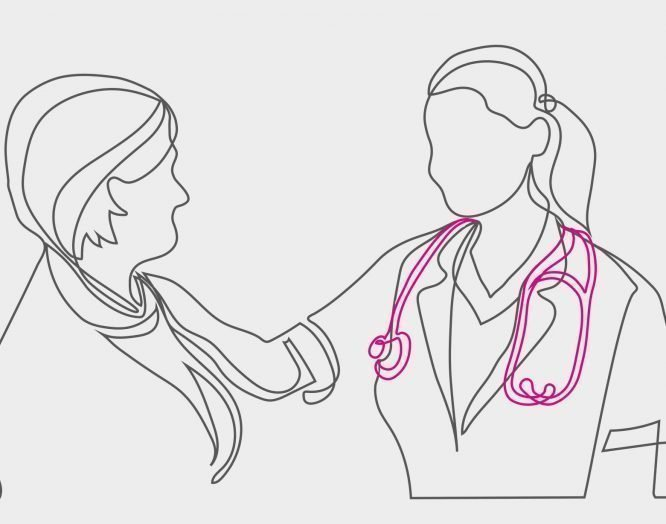 Brustzentrum: Illustration einer Ärztin und Patientin im Gespräch
