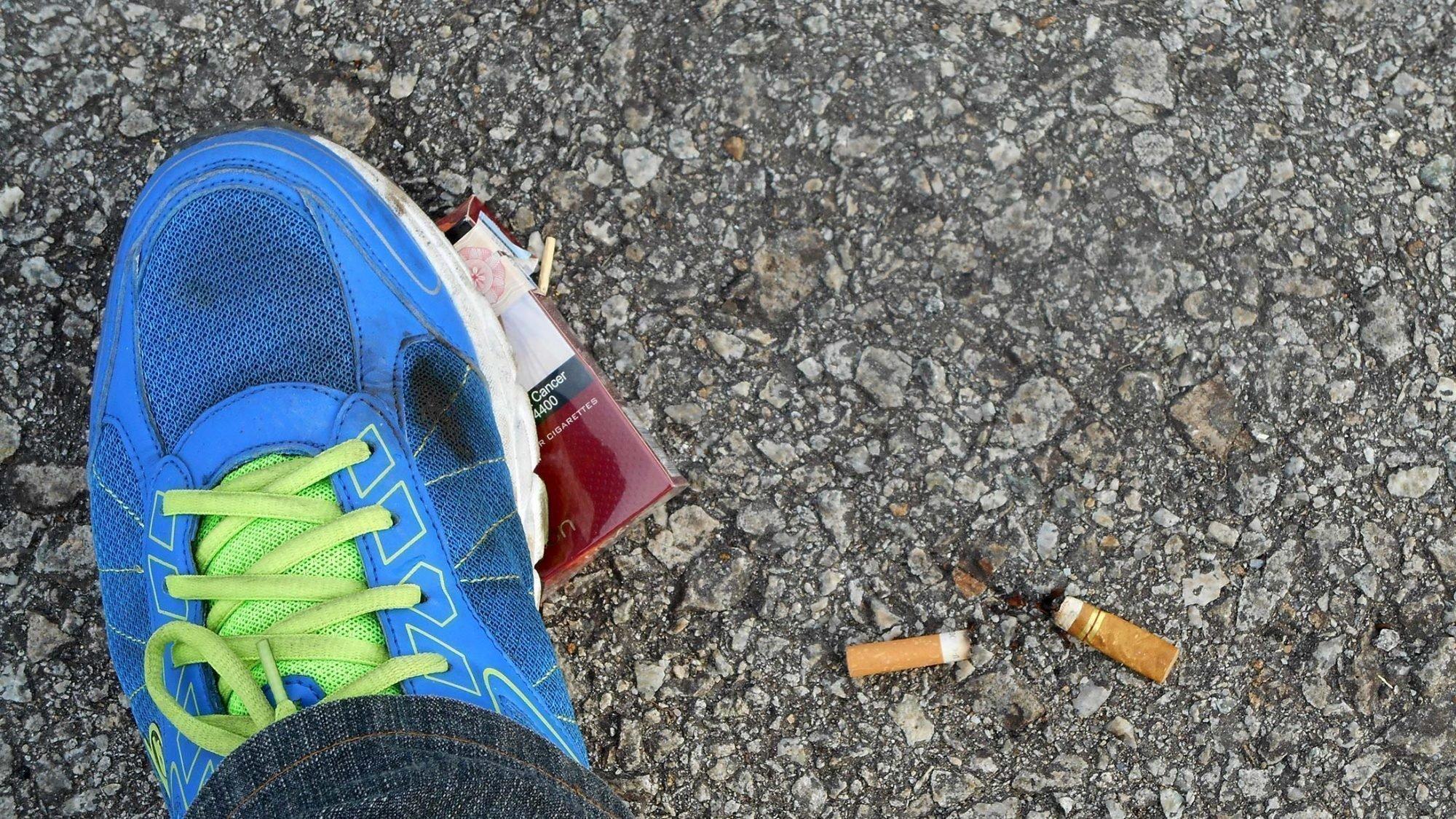 Rauchstopp: Ein zerdrücktes Zigarettenpäckchen.