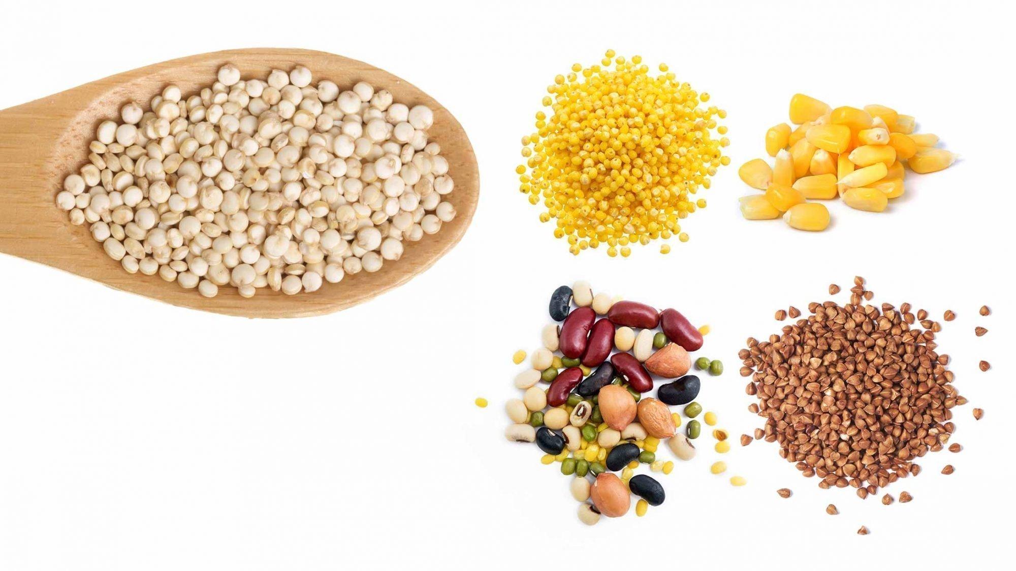 Hirse, Reis, Buchweizen, Mais und Hülsenfrüchte sind glutenfreie Alternativen zu Quinoa.