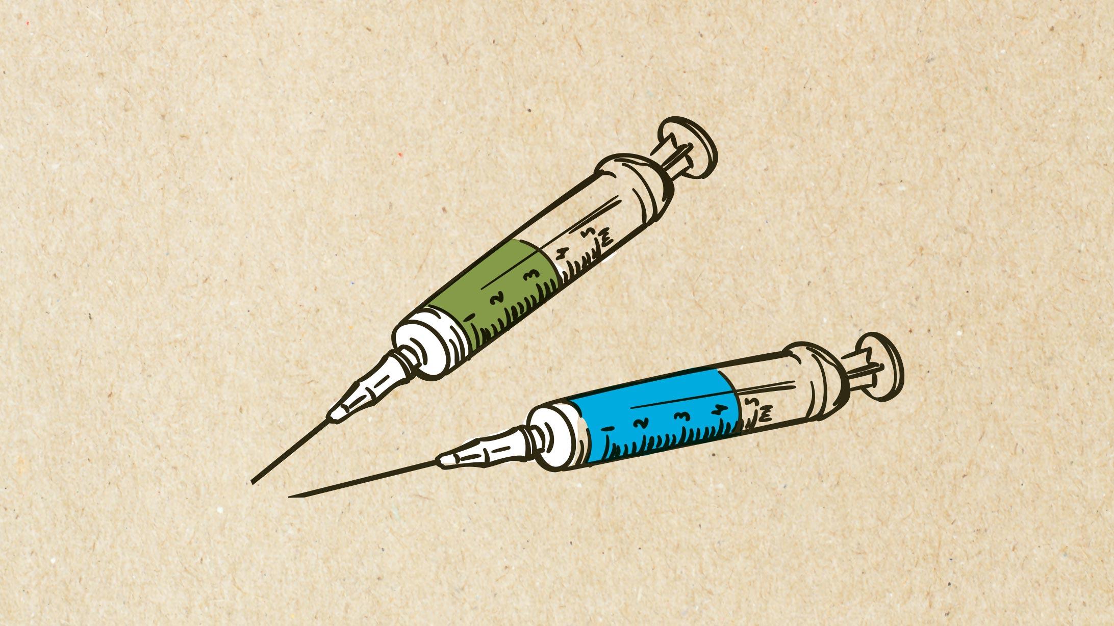 Zwei Spritzen als Symbol fürs Impfen.
