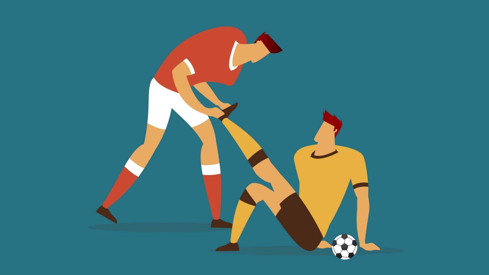 Muskelkrampf: Illustration von Muskelkrampf beim Fussballtraining
