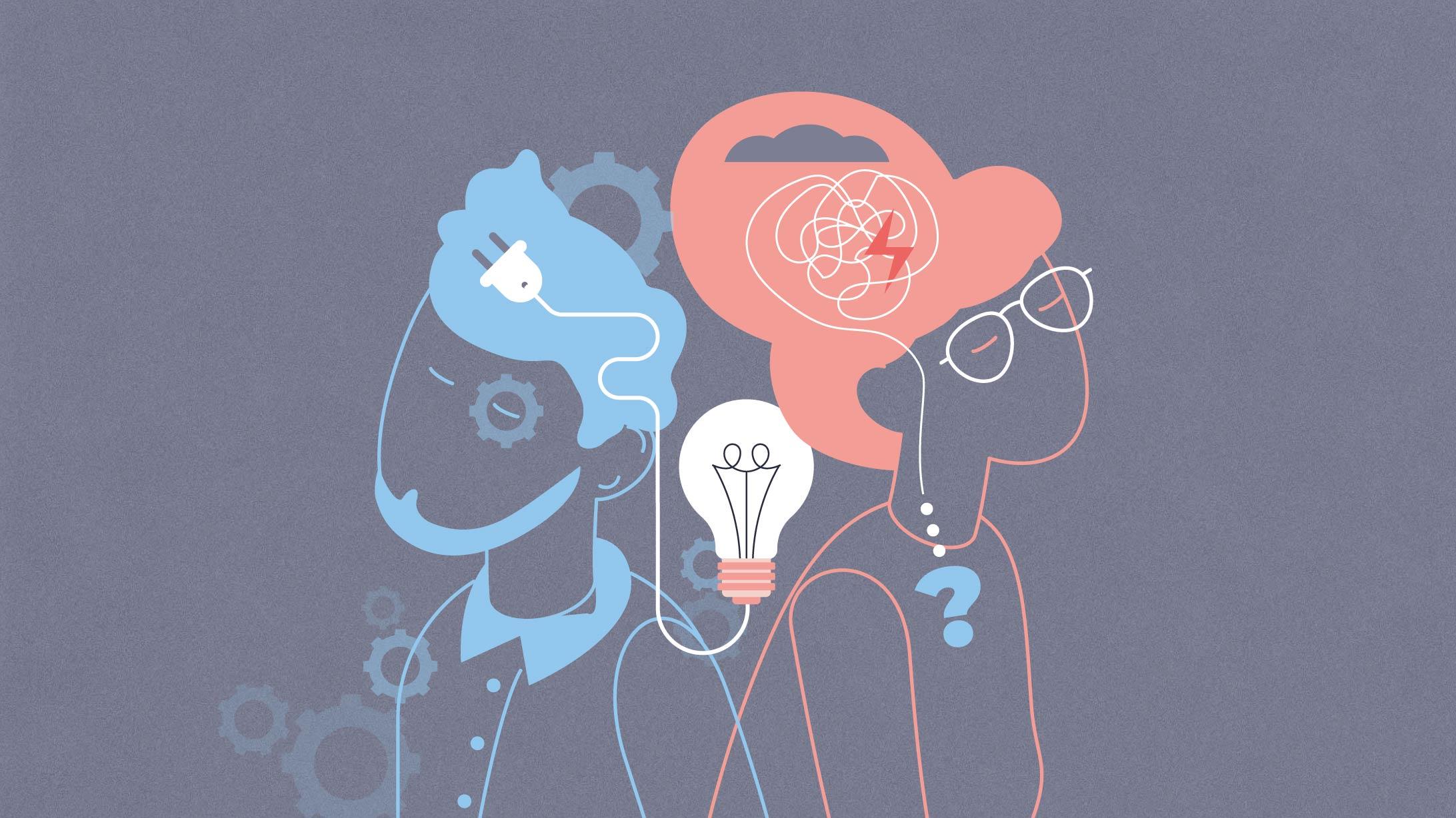 Illustration einer Frau und eines Mannes