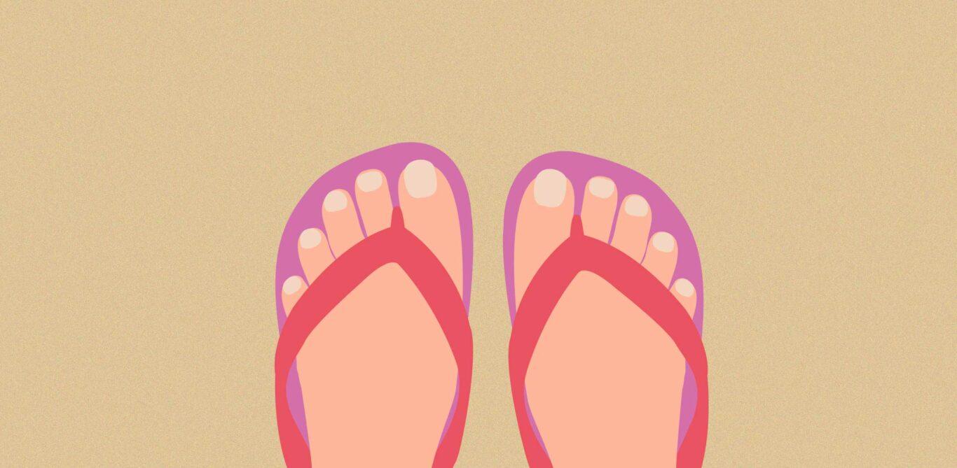 Illustration von Flipflops zum Thema Schuhe