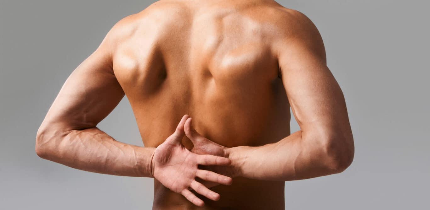 Nackter, männlicher Oberkörper von hinten. Die Hände kommen hinter dem Rücken zusammen, die Daumen zeigen auf die Wirbelsäule.