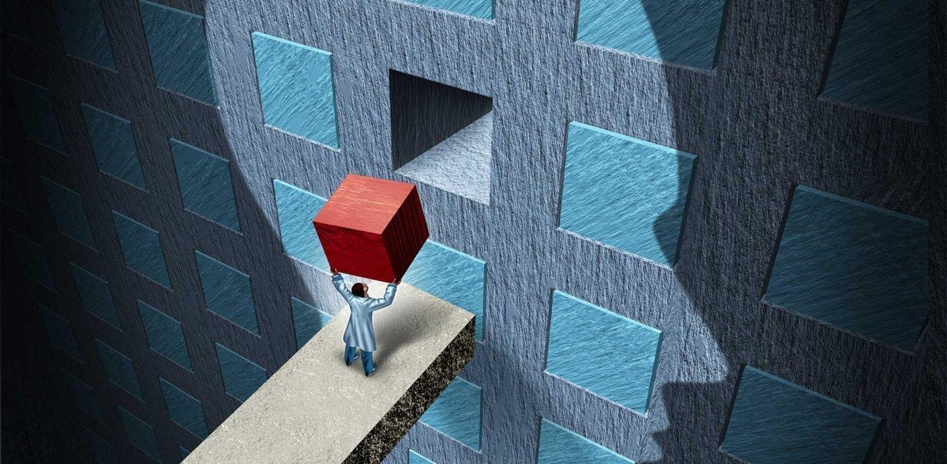 Gedächtnistest: Illustration eines Mannes, der einen Block an den vorgesehenen Platz schiebt.