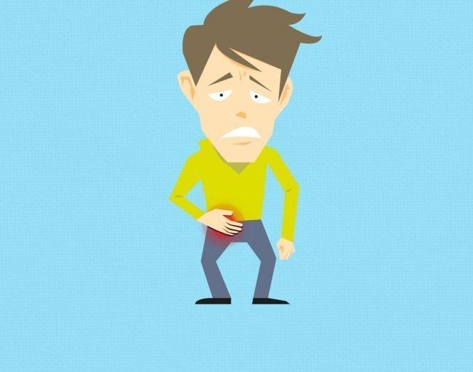 Illustration eines Mannes mit einem schmerzenden Leistenbruch