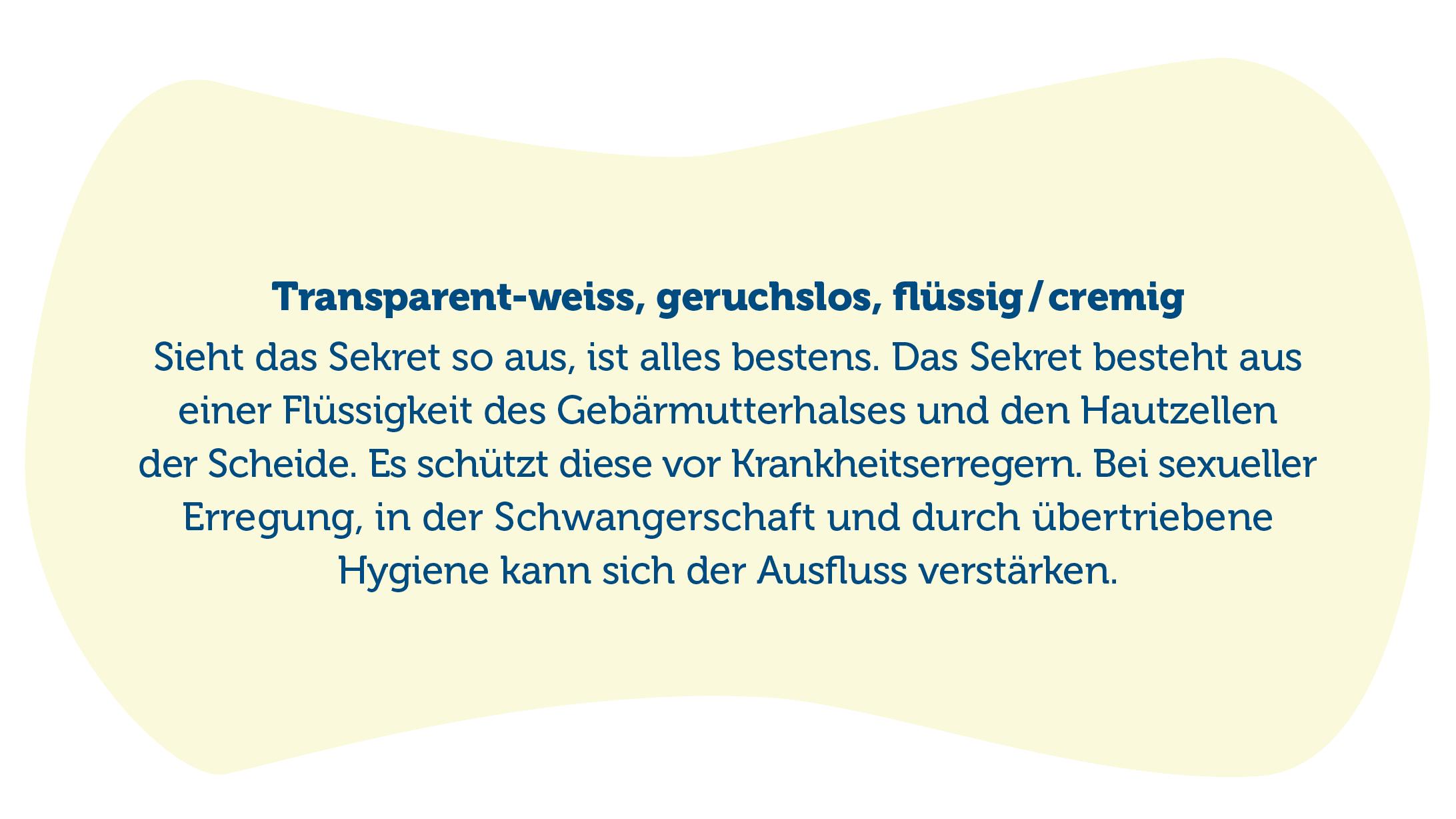 Text zu transparten-weissem und geruchslosen Scheidenausfluss.