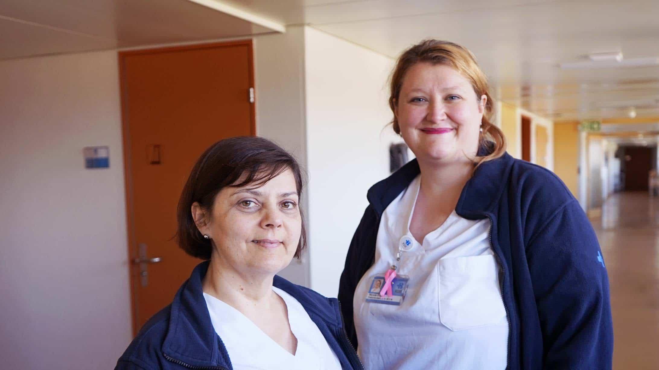 Nicole Frehe und Petra Fischer, Breast and Cancer Care Nurses am KSB, unterstützen Patientinnen mit Brustkrebs.