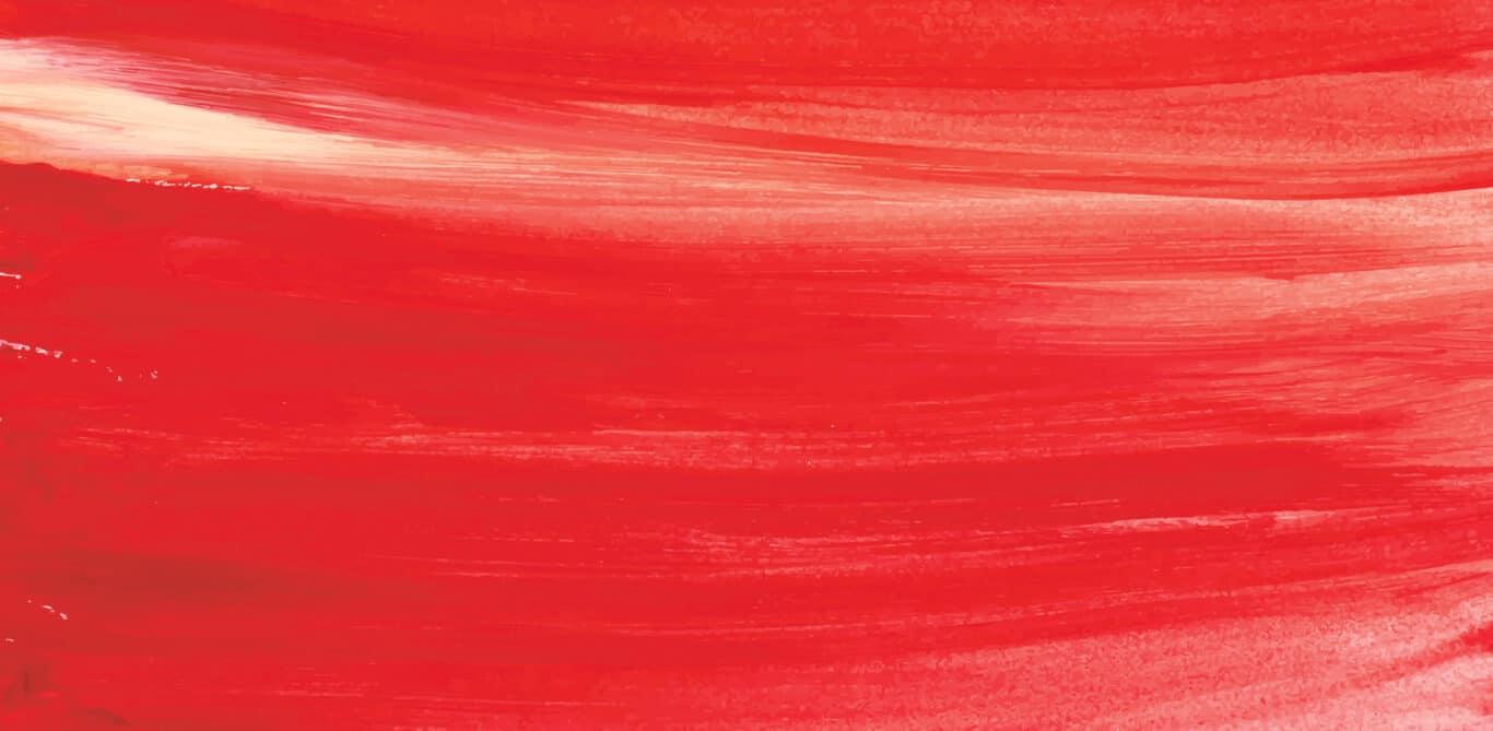 Symbolbild starke Menstruation: Rote Farbe, mit breitem Pinsel verstrichen