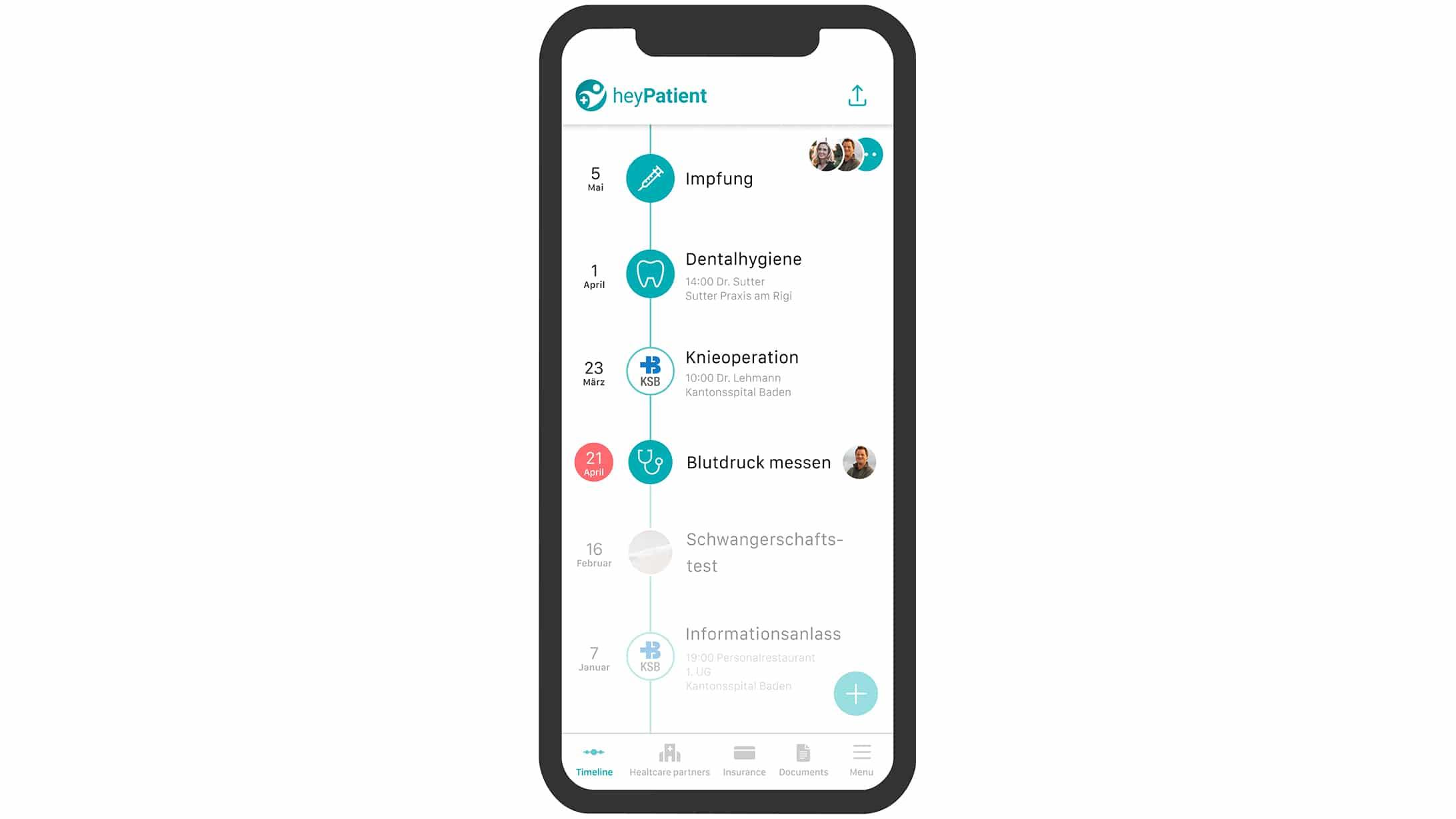 Eine Bildschirmaufnahme der Hey Patient App. Das Handy zeigt verschiedene Berührungspunkte mit dem Kantonsspital Baden.
