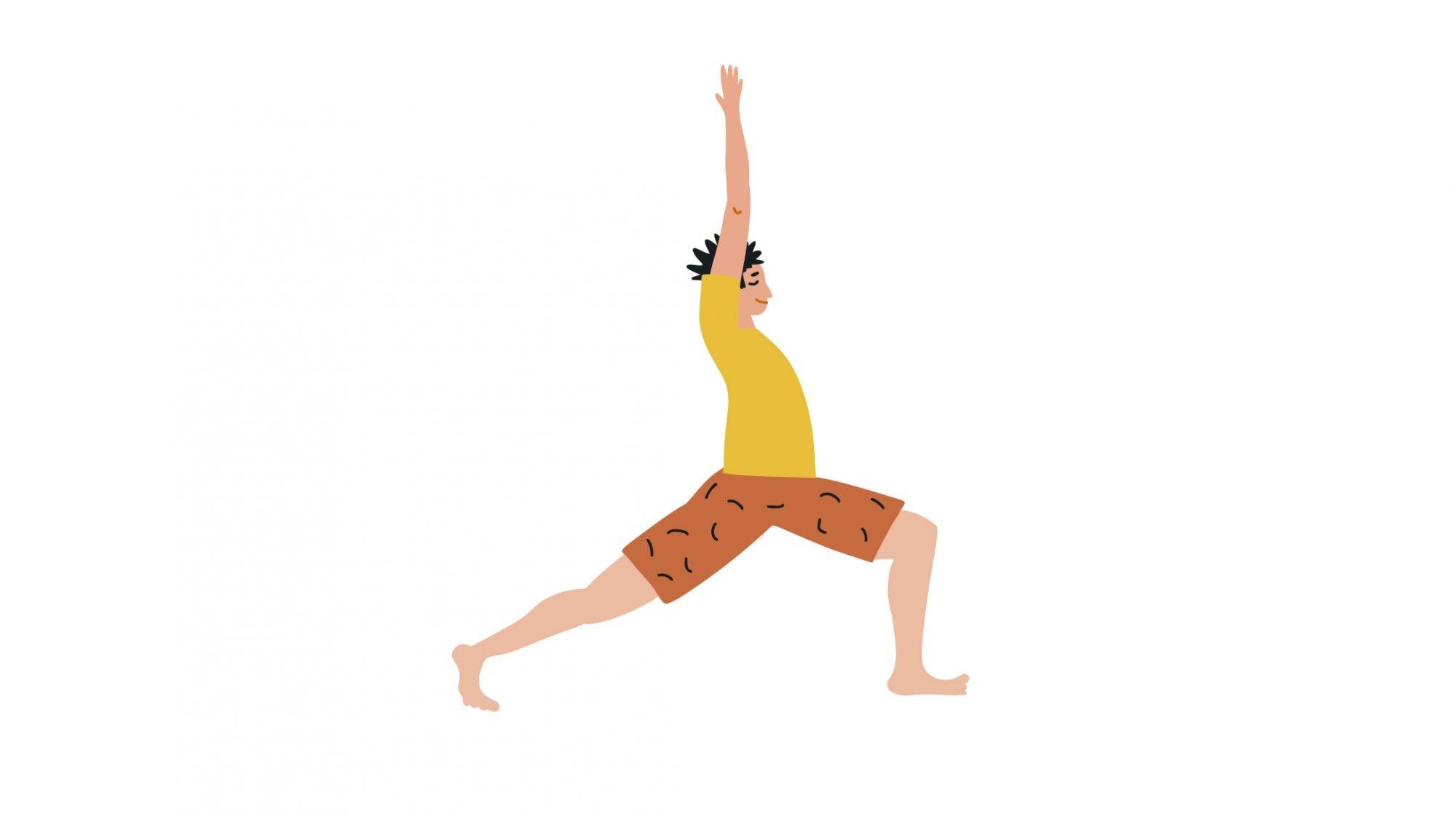 Illustration eines Mannes, der Yoga macht.