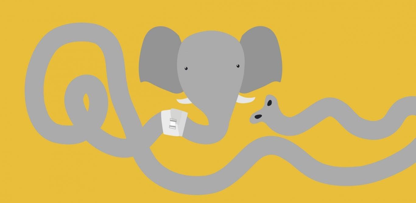 Illustration eines Elefanten mit einem verletzten Rüssel