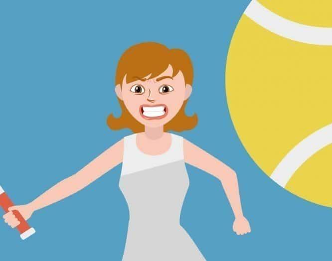Illustration einer Frau, die Tennis spielt