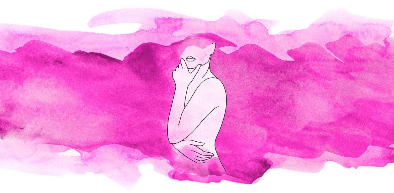 Illustration eines Frauenoberkörpers vor pinkem Hintergrund