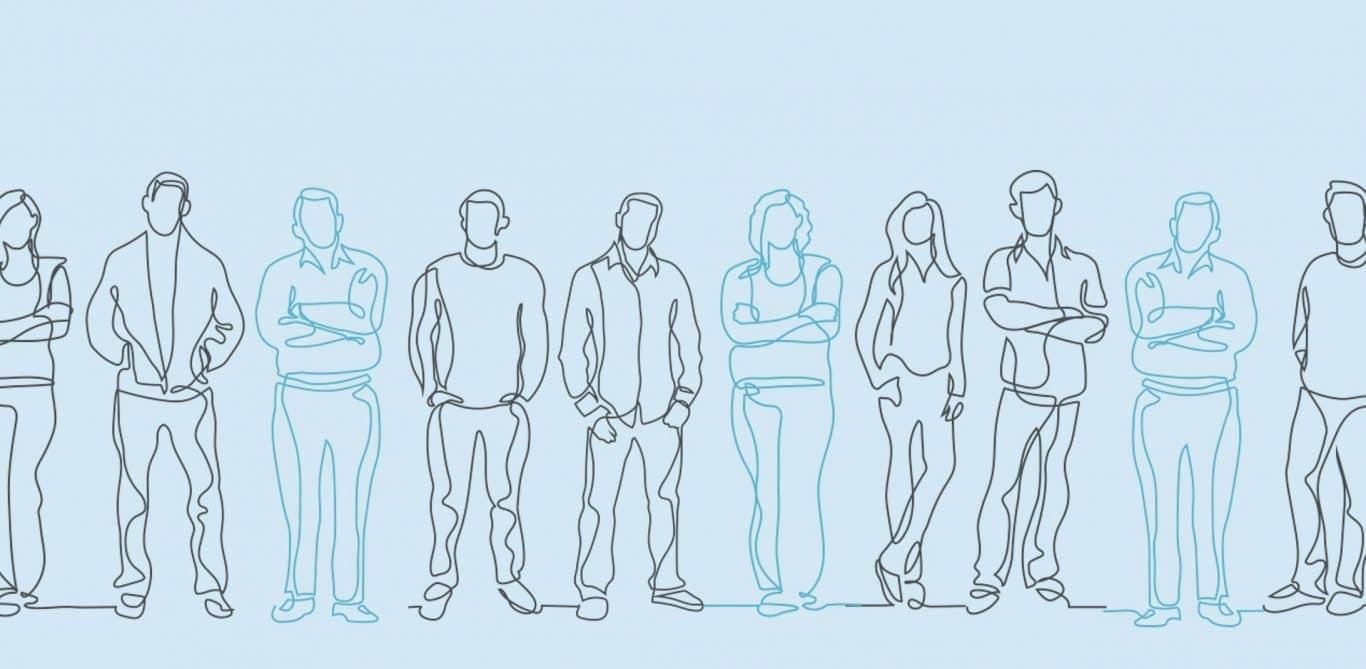 Illustration mit verschiedenen Menschen