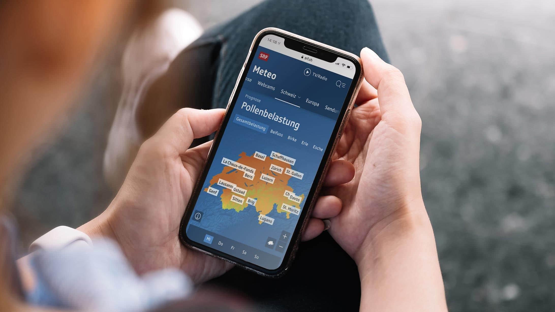Polllenflus-App auf einem Smartphone