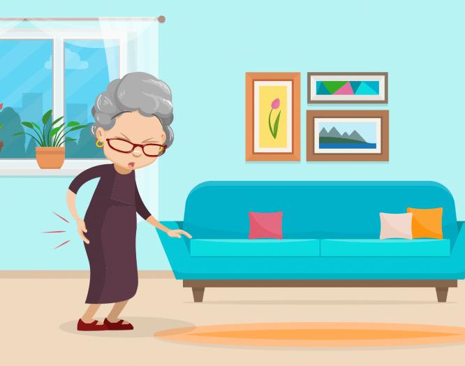 Hüftarthrose: Illustration einer älteren Frau mit Hüftschmerzen