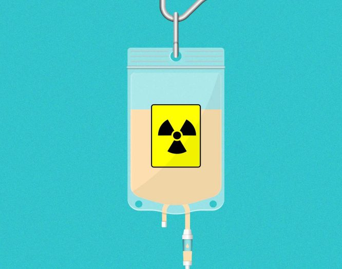 Nuklearmedizin: Illustration eines Infusionbeutels mit radioaktiver Flüssigkeit