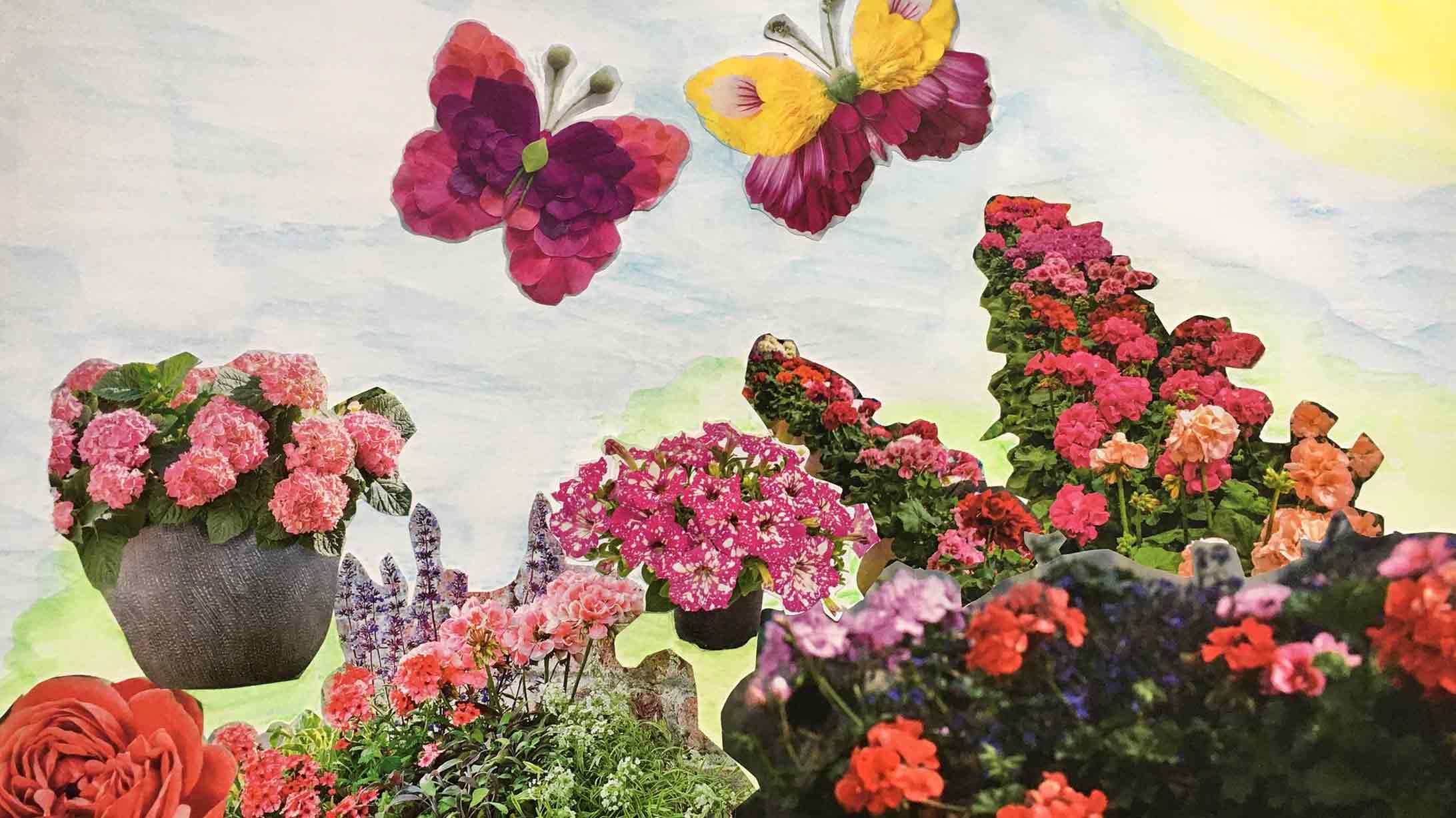 Eine Collage aus Blumen und Schmetterlingen. Erstellt in der Kunsttherapie