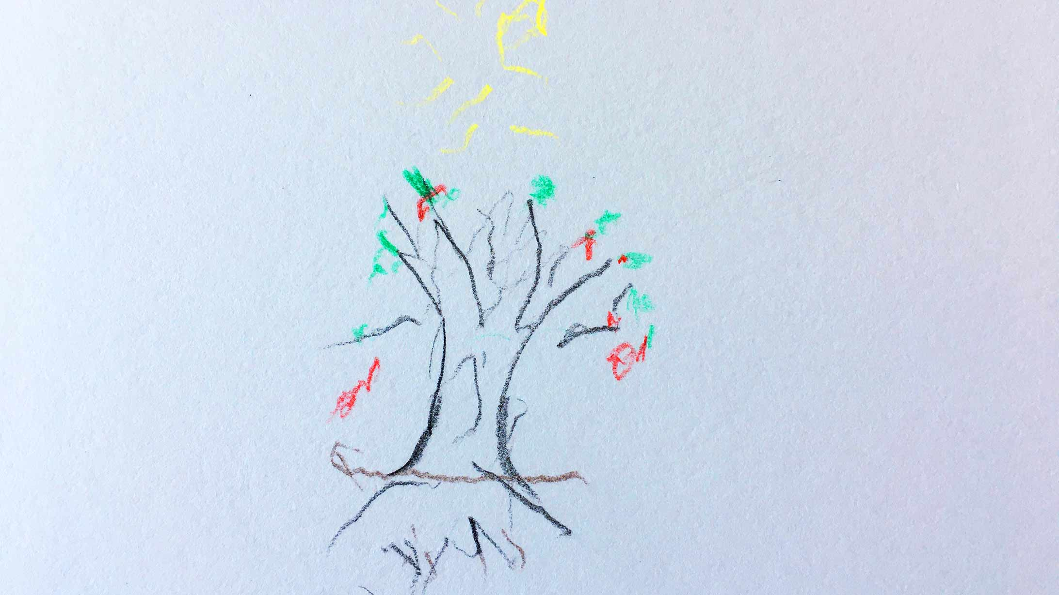 Ein Bild von einem Baum. Gemalt in der Kunsttherapie