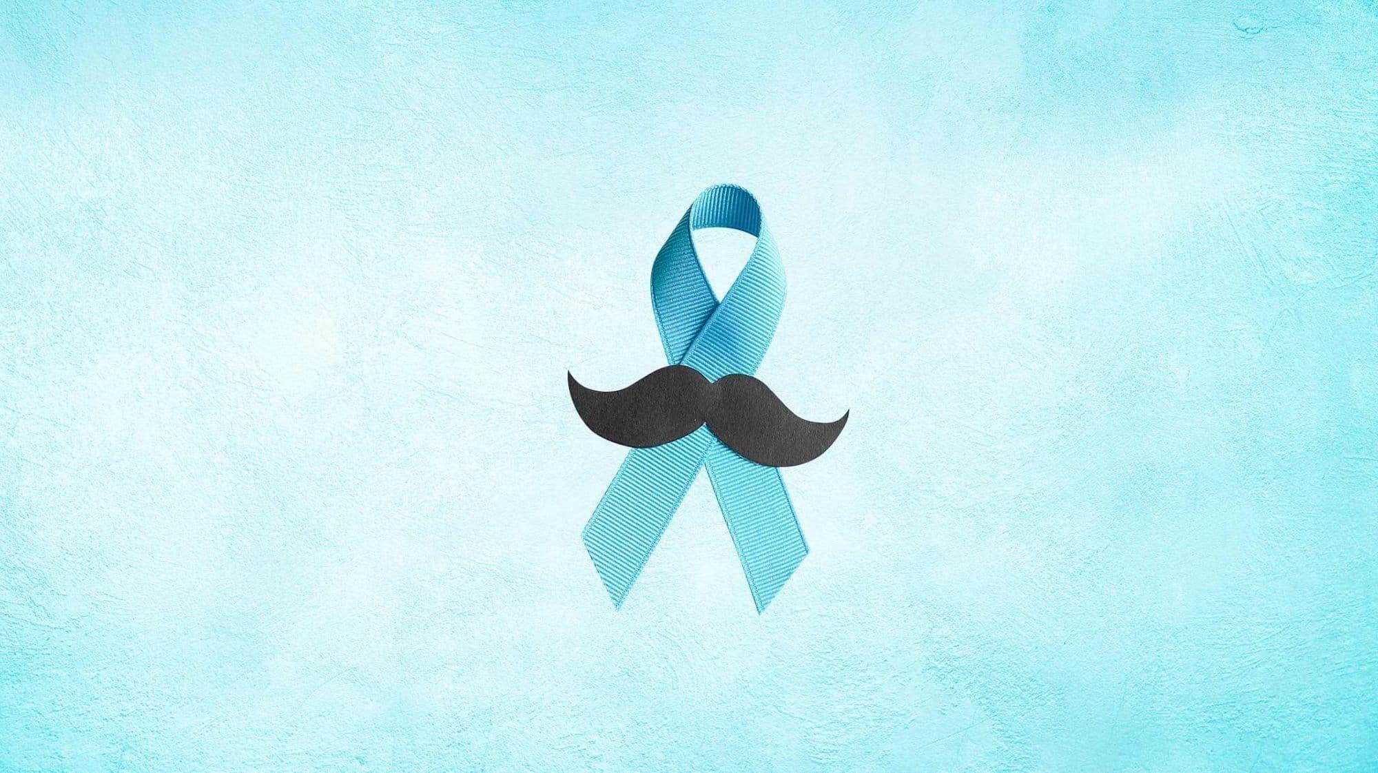 Das blaue Band mit Schnurrbart ist das offizielle Symbol für Prostatakrebs