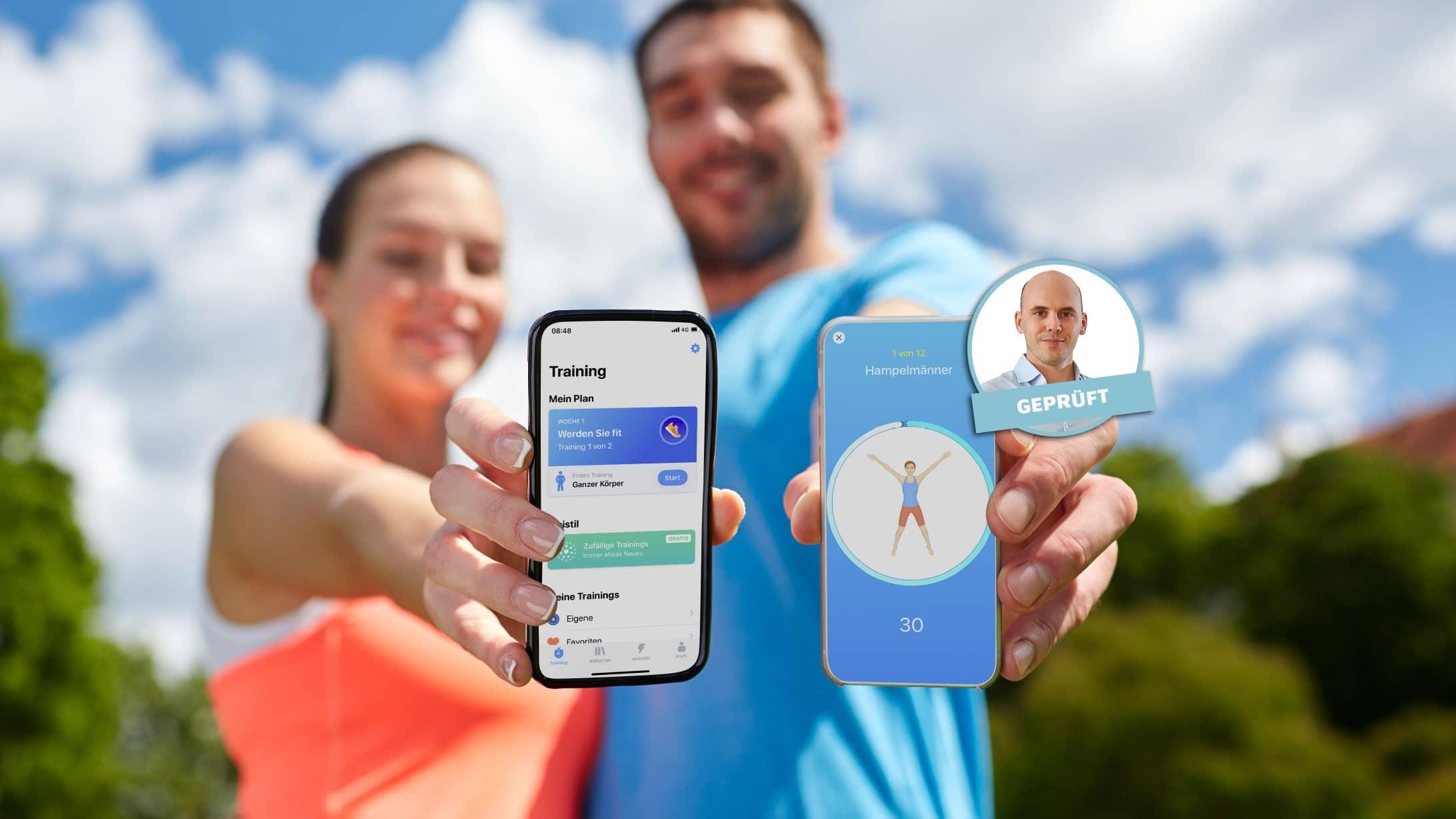 Symbolbild: Zwei Sportler und ihre Fitness-Apps