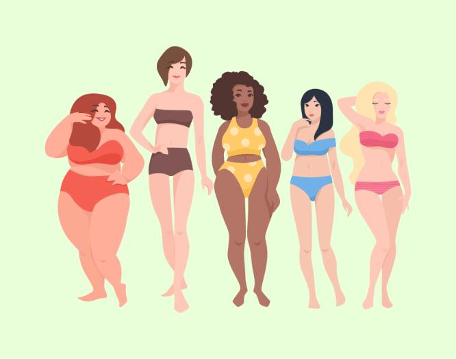 Illustration von Frauen mit verschiedenen Körpertypen.