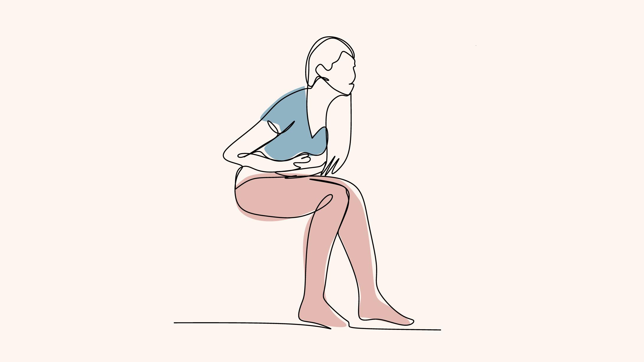 Colitis ulcerosa: Illustration einer Frau die sich den Bauch hält.