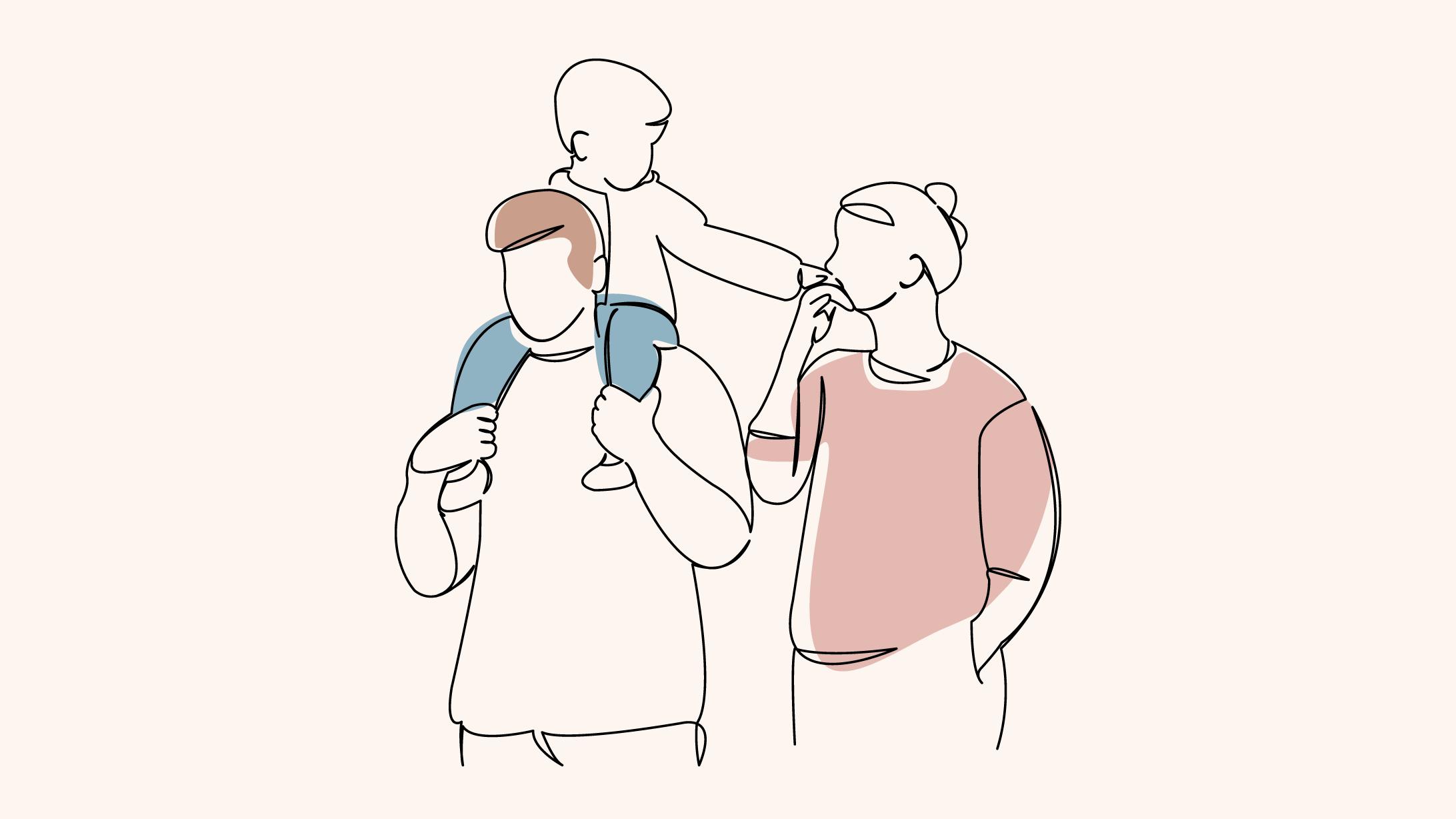 Illustration von Eltern mit einem Kind, das auf den Schultern des Vaters sitzt.