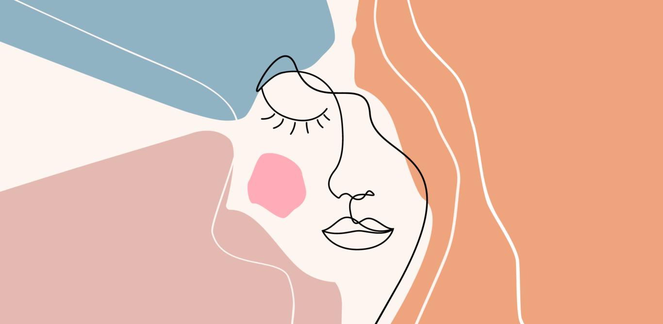 Colitis ulcerosa: Illustration eines weiblichen Gesichts