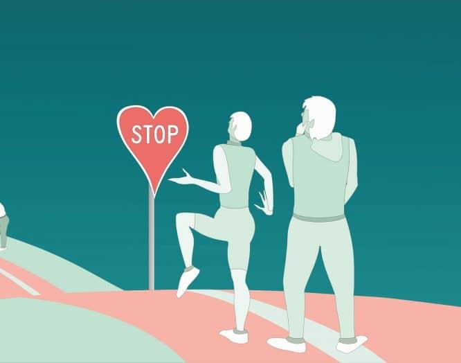 Illustration von Sportlern mit Herzinfarkt