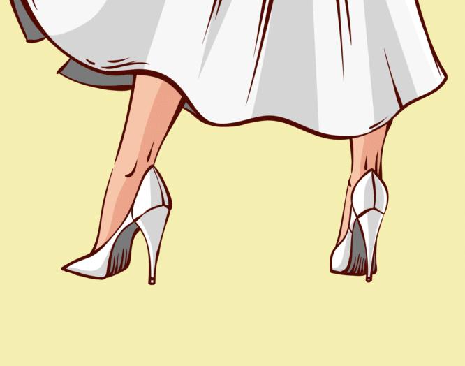 Eine Frau in High Heels und Jupe