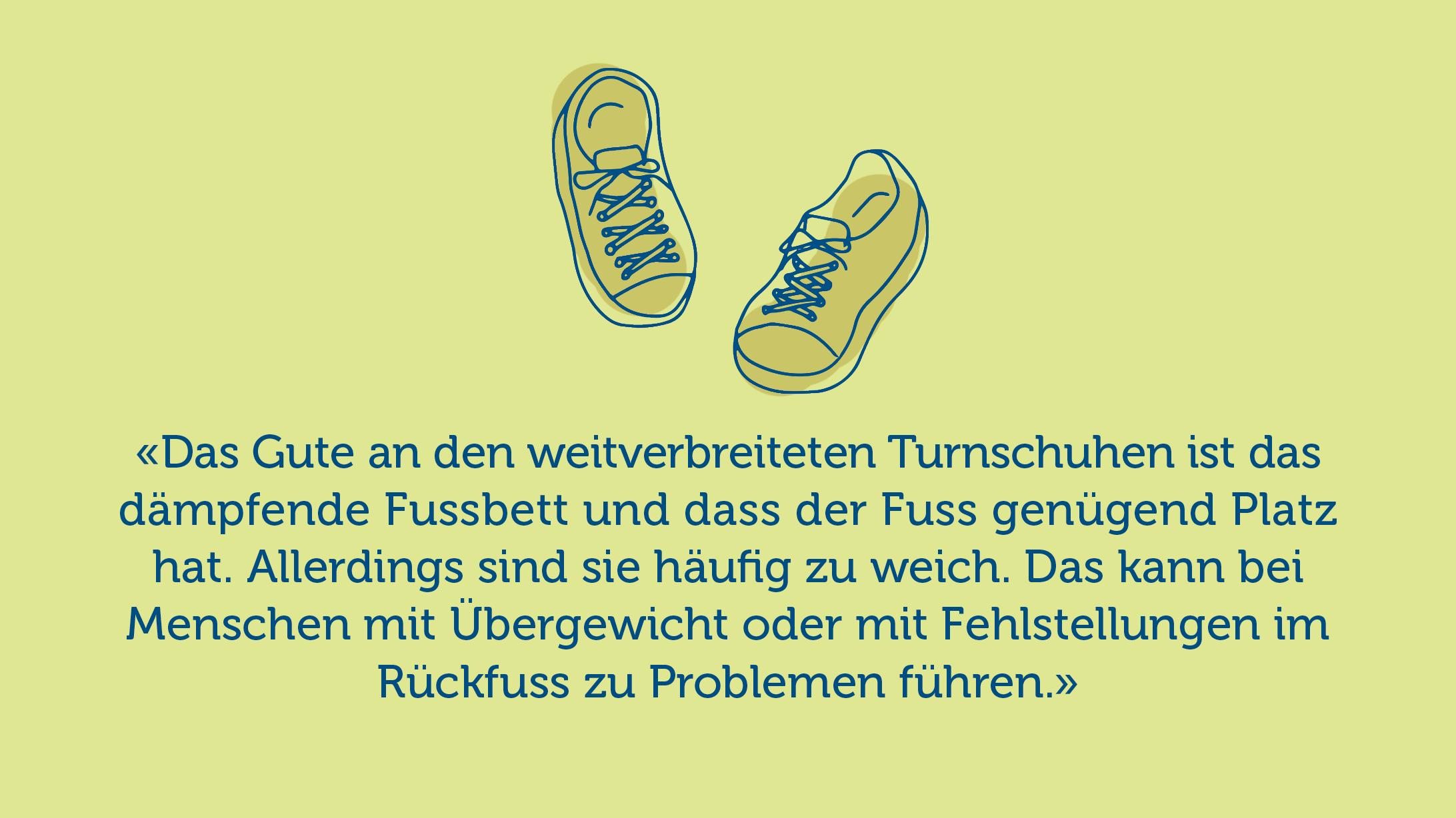 Illustration von Turnschuhen und Einschätzung von Experte.