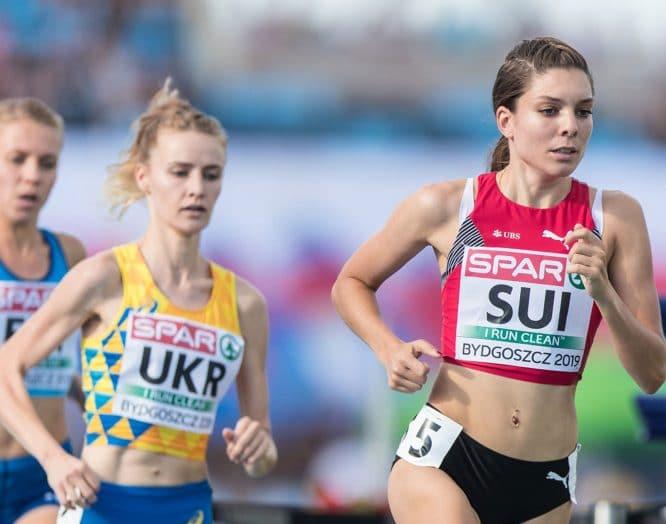 Chiara Scherrer, Praktikantin Physiotherapie am KSB, rennt bei einem Wettbewerb.