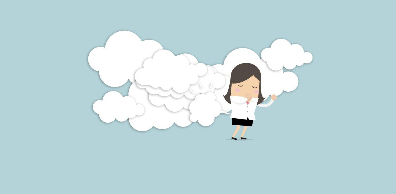 Lustige Illustration einer Frau mit Blähungen
