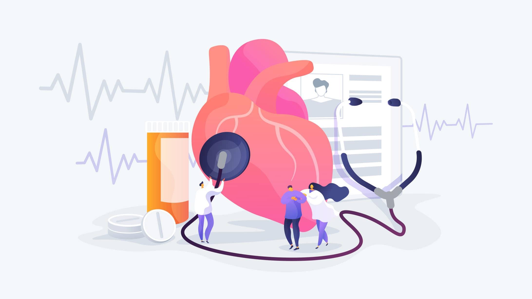 Illustration eines Herzens mit EKG und anderen Untersuchungen, Ärzten und einem Stethoskop